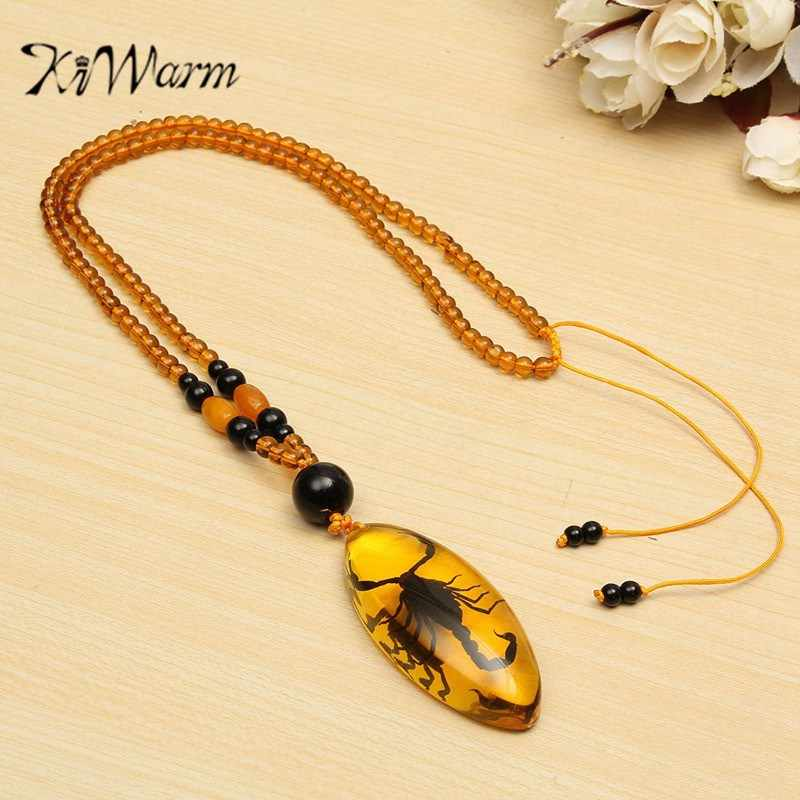 KiWarm Beautiful Natural Insects Amber Chinese Specialtie Scorpion Inclusion in Pendant Necklace Gemstone Ornament Crafts Gifts