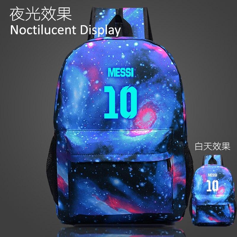 964c253b4 Teenager Messi Noctilucent Kids School Book Bags Backpacks Cartoon Bag  Fashion Shoulder Bag Travel Bag Mochila Escolar 3 Colors