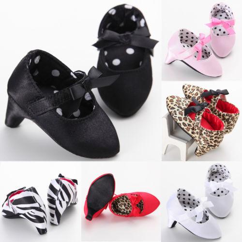 Newborn Baby Girl Princess High Heels Soft Sole Shoes First Walkers Toddler Kids Infantil Bow Leopard Anti-Slip Shoes Mocassins