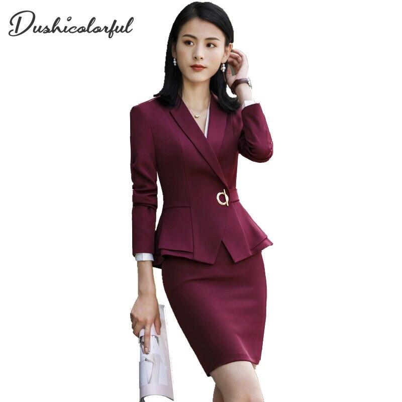 Dushicolorful Women Skirt Suits Two Piece Outfits Ladies Blazer Pants Elegant  Business Office Suit Set Black Suits Work Wear