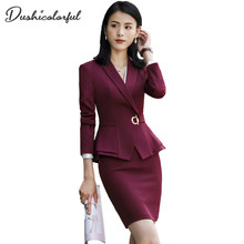 Dushicolorful women skirt suits two piece outfits ladies blazer pants elegant  business office suit set black work wear
