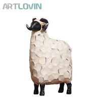 American Vintage Style Creative Resin Sheep Figures European Decorations Goat Figurines Home Decoration Ornaments