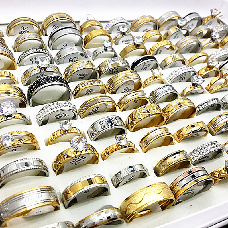 Image 3 - Wholesale 30pcs womens ring set mens unisex big rhinestone zircon engagement gold silver stainless steel jewelry for weddingbracelet lotbracelet deallots and lots of trains dvd -
