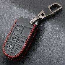 Auto In vera Pelle Smart Cover Della Cassa Chiave Per Dodge Ram 1500 Viaggio Caricatore Dart Challenger Durango Per Fiat Jeep Chiave anello Borsette