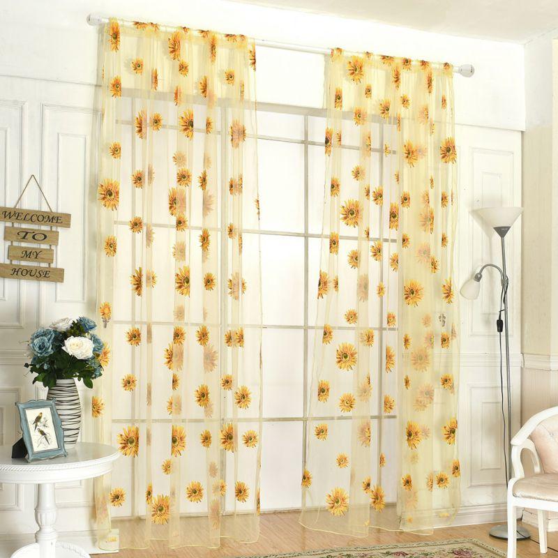 200cm x 95 cm moda girasoles estampados cortina de Panel de ventana transparente para cocina sala de estar Panel de pantalla 3 colores 150 cm x 180 cm Panel transparente Voile ventana cortina habitación Floral tul bufandas cortinas