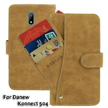 Vintage Leather Wallet Danew Konnect 504 5 Case Flip Luxury Card Slots Cover Magnet Stand Phone Protective Bags vintage leather wallet echo dune 5 case flip luxury card slots cover magnet stand phone protective bags