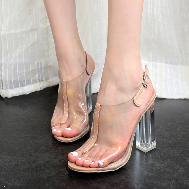 Crystal Heels Sandals Woman Transparent Jelly Sandals