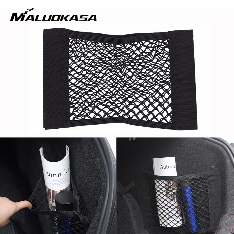 MALUOKASA Car Back Rear Trunk Box Storage Bag Mesh Elastic String Net Car Styling Luggage Holder Pocket Sticker Trunk Organizer