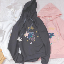 NiceMix Women Pentagram Embroidery Hoodies 2019 New Spring Fashion Long Sleeve Basic Cotton  Casual Female Sweatershirts new