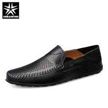 URBANFIND Italiaanse Heren Schoenen Casual Luxe Merk Zomer Mannen Loafers Echt Lederen Mocassins Comfy Ademend Slip Op Schoenen
