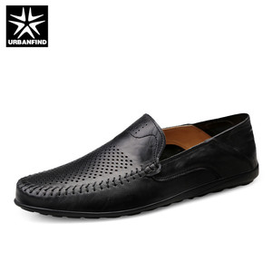 Image 1 - URBANFIND Italian Mens Shoes Casual Luxury Brand Summer Men Loafers Genuine Leather Moccasins Comfy Breathable Slip On Shoes