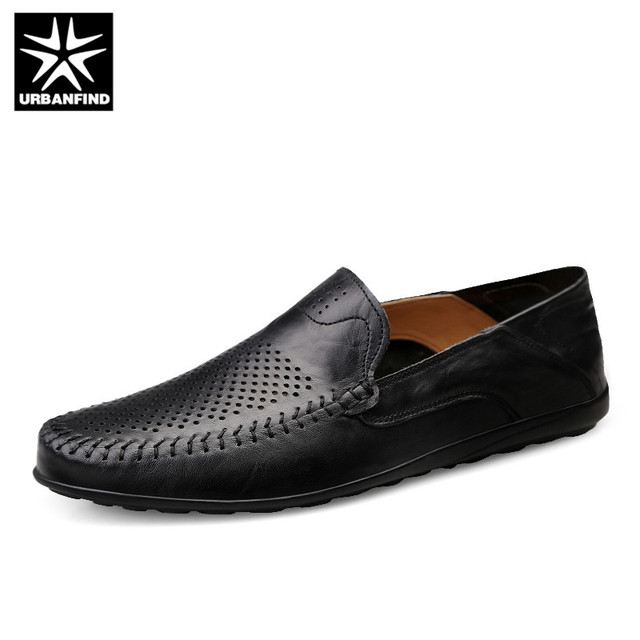 URBANFIND Italian Mens Shoes Casual Luxury Brand Summer Men Loafers Genuine Leather Moccasins Comfy Breathable Slip On Shoes
