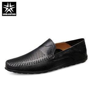 Image 1 - URBANFIND איטלקי Mens נעליים מקרית יוקרה מותג קיץ גברים נעלי מוקסינים נוח לנשימה להחליק על נעליים