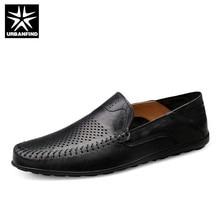 URBANFIND İtalyan Erkek Ayakkabı Rahat Lüks Marka Yaz erkek mokasen ayakkabıları Hakiki Deri Moccasins Rahat Nefes bağcıksız ayakkabı