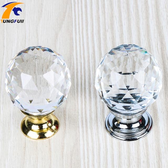 Crystal Glass Handle Door Knobs 25 40mm In Brass For Kitchen Cabinet Drawer  Wardrobe Cupboard