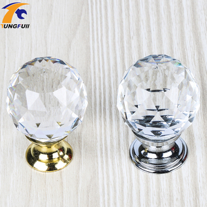Crystal Glass Handle Door Knobs 25-40mm in brass for Kitchen Cabinet Drawer Wardrobe Cupboard Dresser High Quality