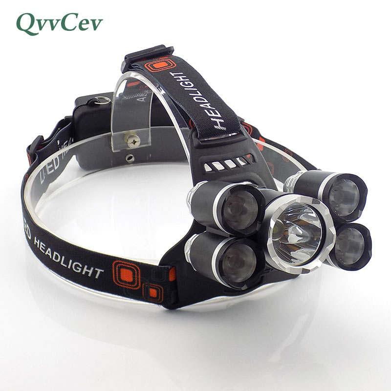 5 led headlight headlamp lampe frontal frontale head flashlight forehead camping super bright head light torch powerful