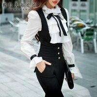 Dabuwawa Autumn Winter White Blouse Women New Ruffles Bow Tie Shirts Long Puff Sleeve office lady Elegant Blouse Top