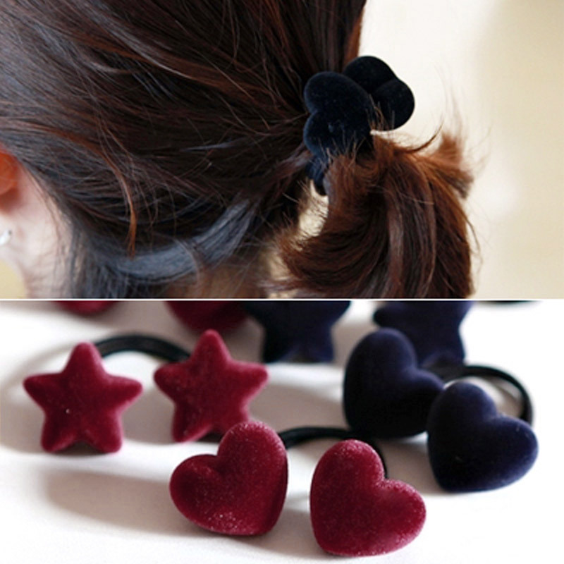New Popular Korean Style Women Cute Hair Accessories Velvet Heart/Star/Ball Hair Rope Rubber Band Headwear For Girls women headwear 2017 retro hair claw cute hair clip for girls show room vitnage hair accessories for women