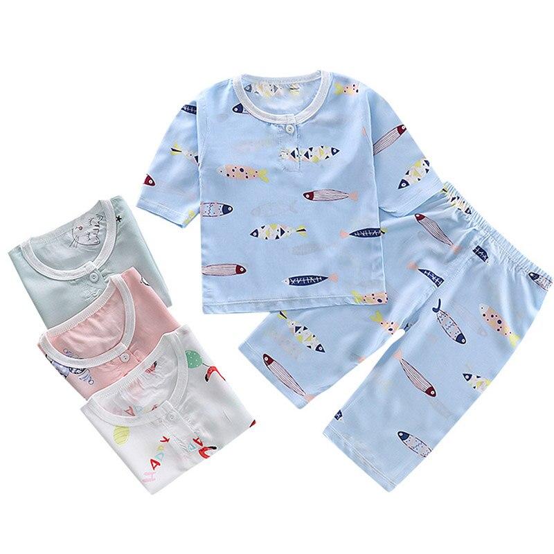 New 2pcs Kids Girls Boys Summer Pajamas Set Cartoon Cat Flamingo Children Sleepwear Poplin Cotton Half Length Home Clothing Suit
