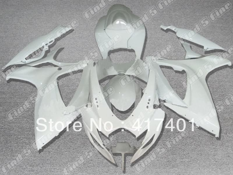 whole white for SUZUKI GSX R600 R750 06-07 GSXR 600 750 GSXR600 GSXR750 GSX-R600 GSX-R750 K6 06 07 2006 2007 ABS fairing kit
