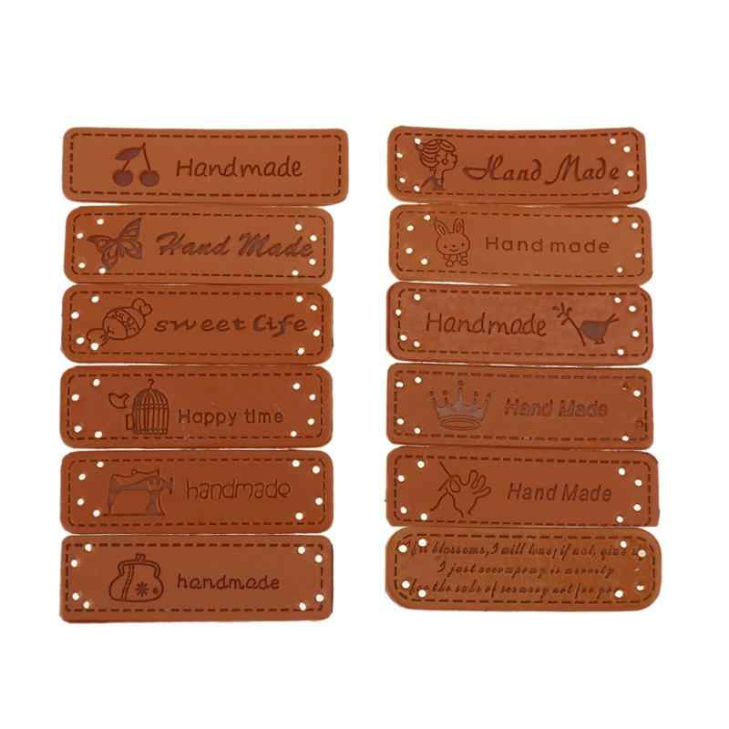 12Pcs/set Hand Made Labels Brown PU Leather Tags 5x1.5cm On Clothes Garment Labels For Jeans Bags Shoes Sewing Accessories