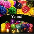 4M 20 Multicolor/Warm White Rattan Ball String Fairy Lights For Christmas Xmas Wedding decoration Party Hot use dry battery