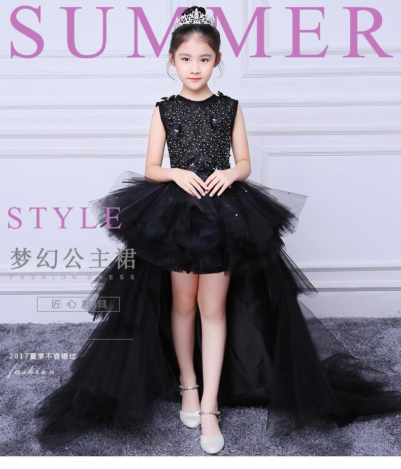 Evening Black Dress Model Walk Show Princess Children Drag Tail Wedding Piano Performance Flower Boy Host