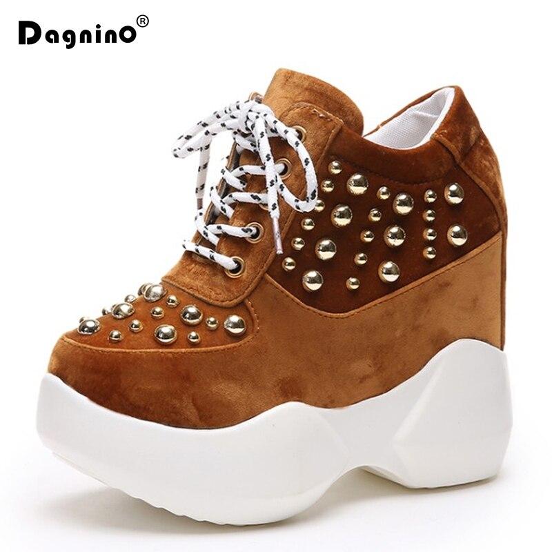 f795ecd9b105 Spring Autumn Black Hidden Wedge Heels Casual Shoes Woman Rivet Platform  Shoes Elevator 11.5CM High-Heels Walking Sneakers Women