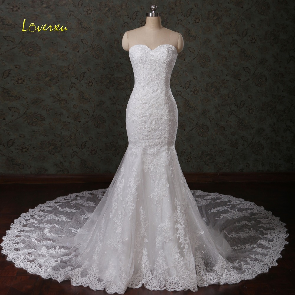 Strapless Mermaid Wedding Gown: Loverxu Glamorous Appliques Chapel Train Lace Mermaid