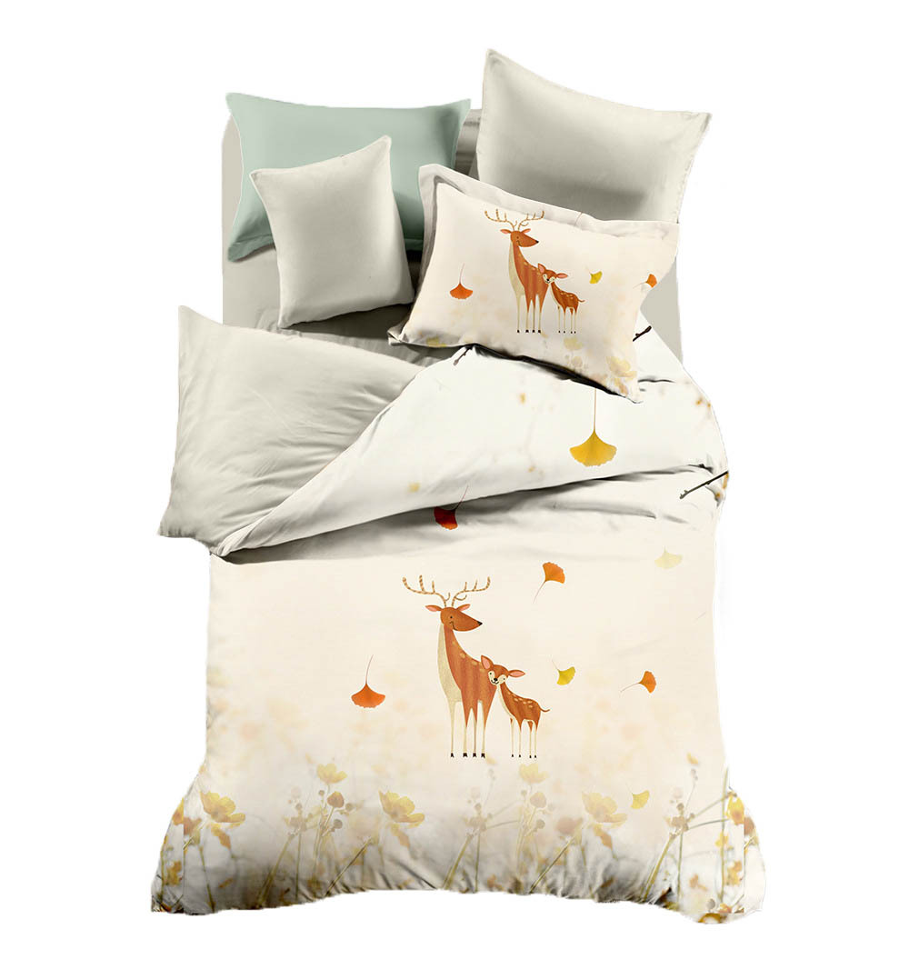 3/4 pcs Quilt Cover Soft Printed Double-sided Christmas deer Bedding Set With Pillow Cases Bed Sheet Duvet  Set 3/4 pcs Quilt Cover Soft Printed Double-sided Christmas deer Bedding Set With Pillow Cases Bed Sheet Duvet  Set