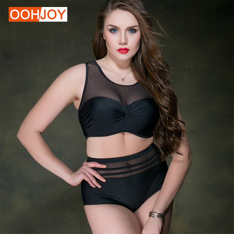 Plus Size Mesh Sport Swimsuit Women Bikini Set 2XL-5XL Underwire Paded Bathing Suit Gir Tankini Solid Color Bodysuit Beachwear simple women s plus size stripe bikini set