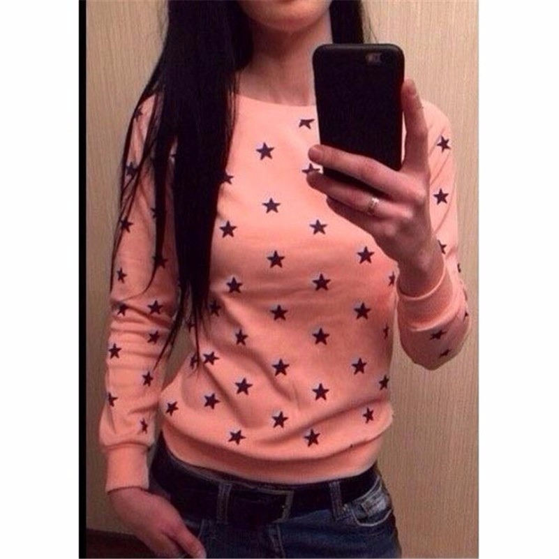 2016 Fashion New European Star Printing Sweatshirt Hoodies Long Sleeve  Loose Women Crewneck  Size S-XL Hot Sale 2016