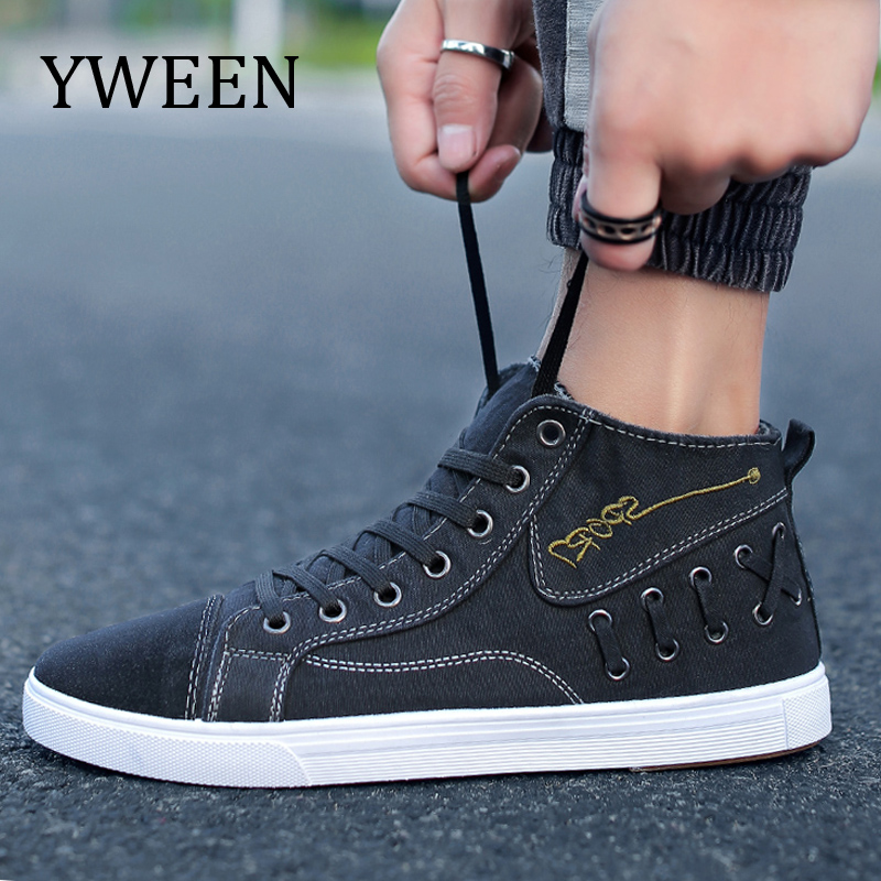 YWEEN Canvas Men Shoes Denim Lace-Up Men Casual Shoes New Plimsolls Breathable Male Footwear Spring Autumn