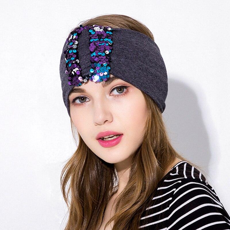 Glitter Headbands Turbante Mulheres Acessórios de Cabelo Adulto