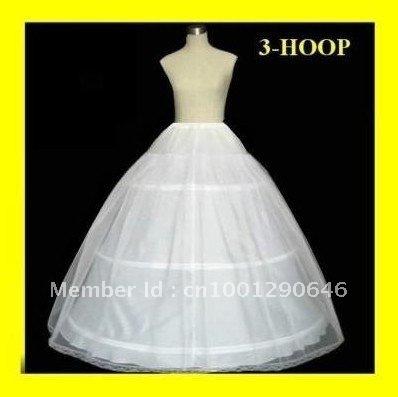 Venta caliente del envío gratis 50% de descuento 3 aro balón vestido hueso completo CRINOLINE enagua de la boda falda