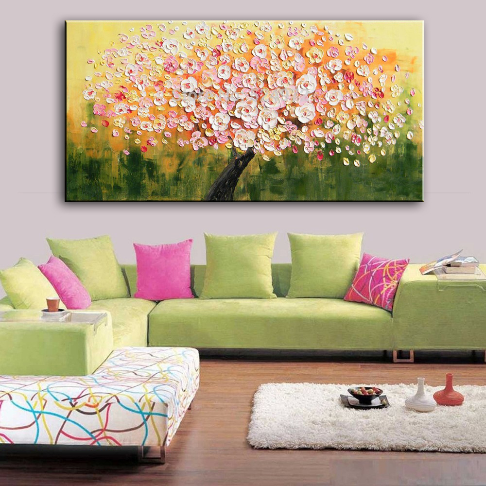 New handmade Modern Canvas on Oil Painting Palette knife Tree 3D Flowers  Paintings Home living room ...