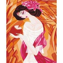 Diy digitales ölgemälde by zahlen hause wand-dekor leinwand malerei mit rahmen Kits Bild-Eindruck Schönheit 1 sätze DY202