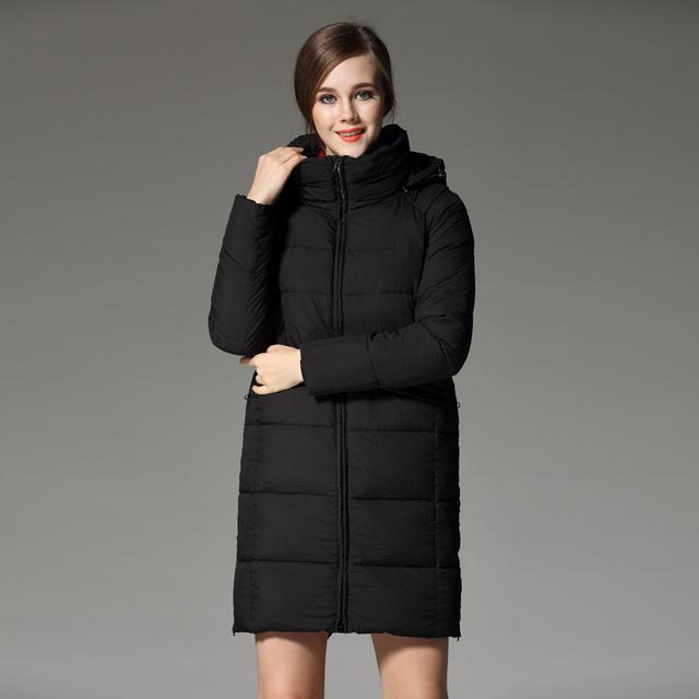 Alta qualidade 2016 Mulheres para baixo casaco de médio-longo breve forma formal térmica com um capuz solto