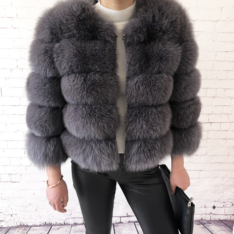 2019 new style real fur coat 100% natural fur jacket female winter warm leather fox fur coat high quality fur vest Free shipping 51