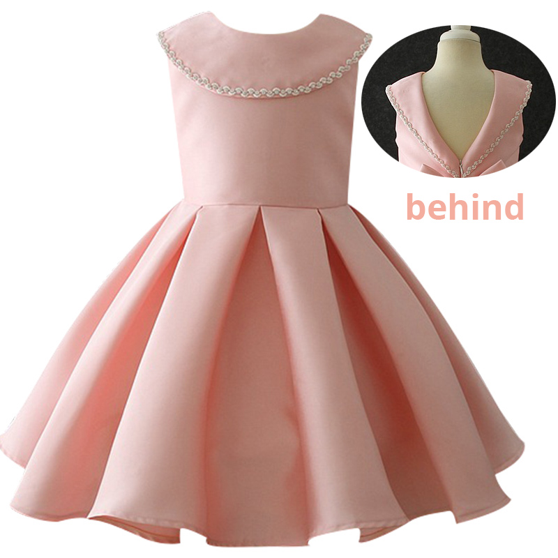 New Kids Big Bow Tutu Birthday Princess Party Dress For Girls V Backless Bridesmaid Elegant Dress For Girl Wedding 3-10yrs