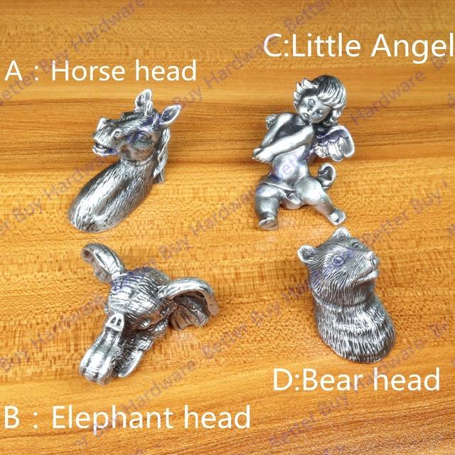 Cabeça de cavalo-em forma de Metal Prateado Antigo Puxadores para móveis/alças/pull para portas/armários mobiliário de estilo especial alças