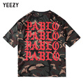 Kanye West YEEZY Pablo T Shirt Men 1:1 High Quality SEASON 1 Justin Bieber Camouflage Hip Hop Military Army Camo YEEZY T-shirts