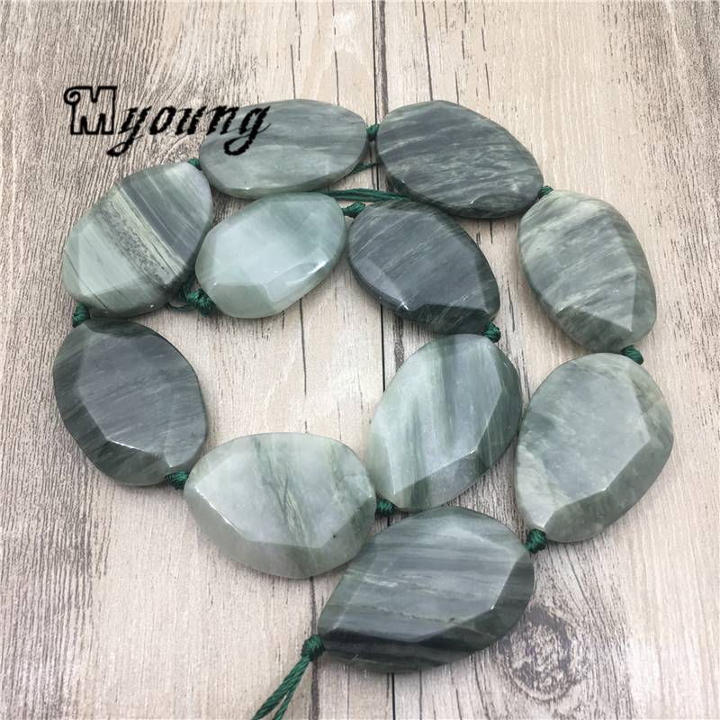 Faceted Egg Shape Green Grain Stone Slice Beads,Nature Stone <font><b>Afghanistan</b></font> Jades Center Drilled Pendant Beads MY1754 image