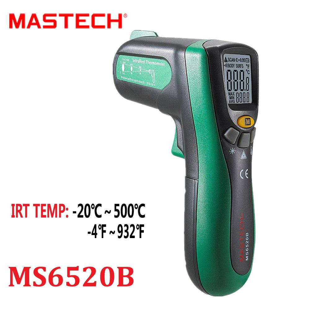 MASTECH MS6520B Non-contact Auto range Digital Infrared Thermometer 10:1(D:S) Temperature Meter -20C~500C -4F~932F mastech infrared thermometer 20c 300c non contact auto range lcd digital display laser handheld temperature meter