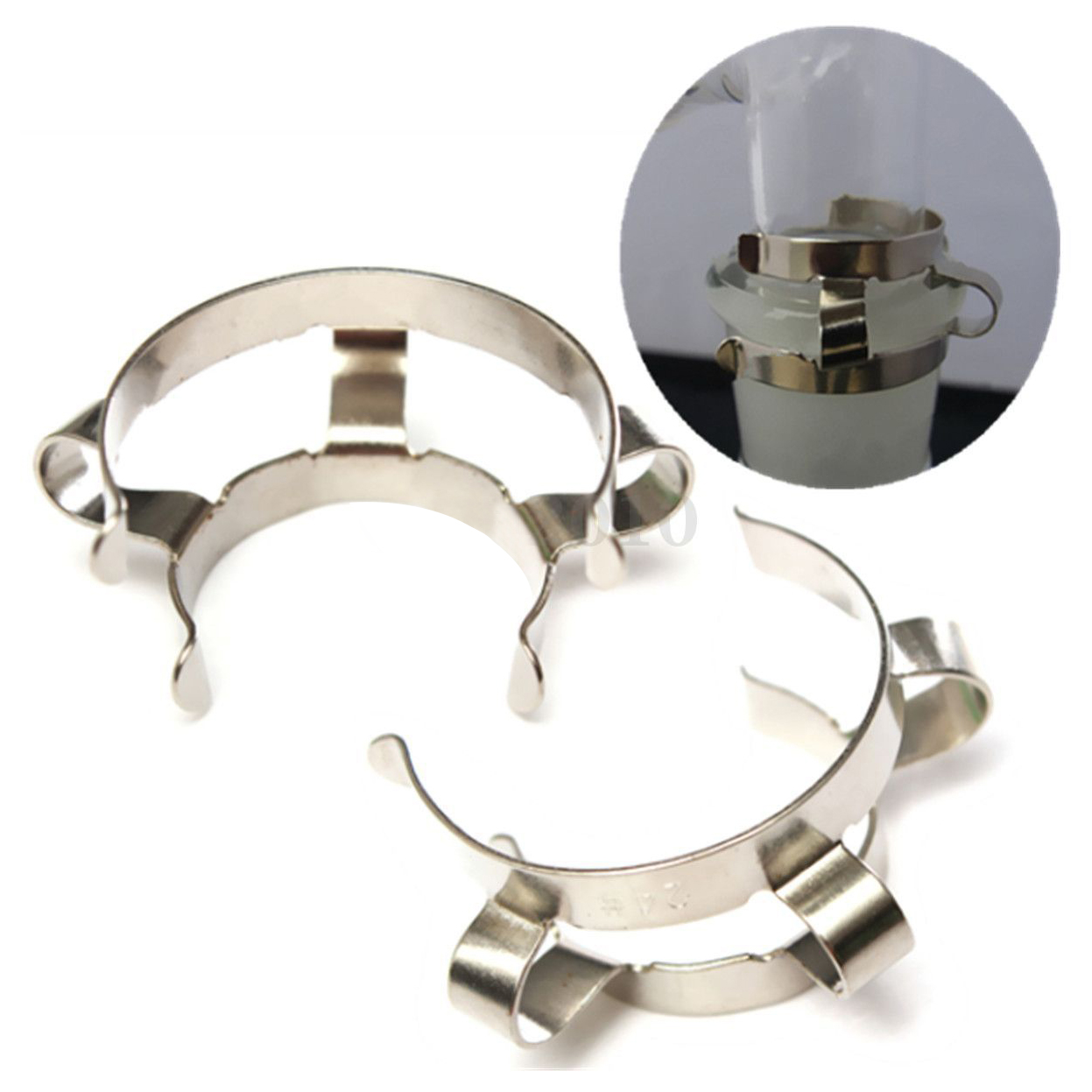 SOSW-2pcs 24# Stainless Steel Clip Keck Clamp For 24/29 24/40 Glass Ground Joint