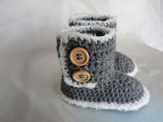 Baby Crochet Shoes Boys Booties Gray Color