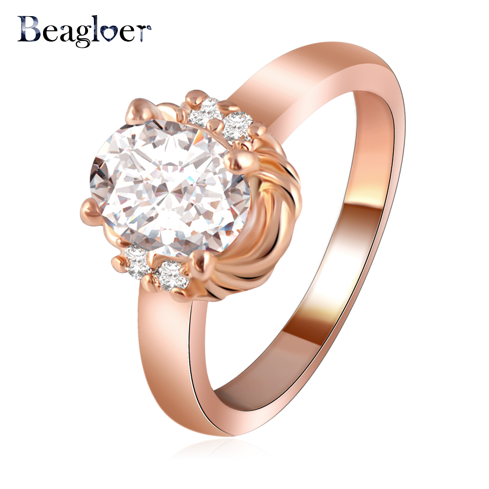 Oval Ring Wholesale Rose Gold Color Rings Element Austrian Crystal Wedding Jewely Free Shipping ...