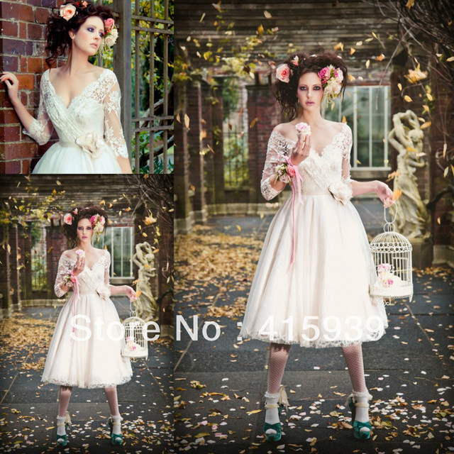 5920e038fb71 Hot Sale A Line V Neck See Through Lace Tea Length Vintage Wedding Dress  Bridal Gown Women Free Shipping HS206
