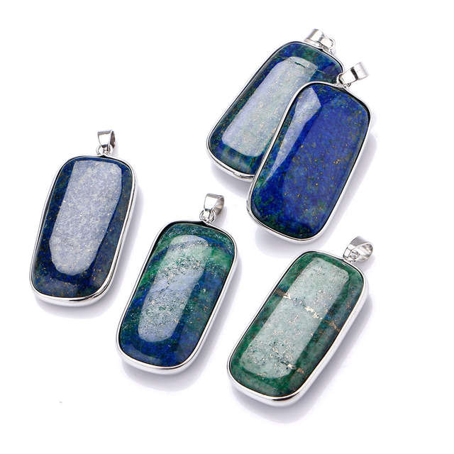 a710e272e0247 Yumten Lapis Lazuli Pingente Peacock Green Gemstone Necklace ...